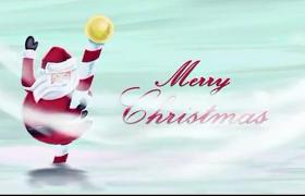 清新搞笑具有魔法萬能的喜慶圣誕老人騎行送禮物開場AE模板