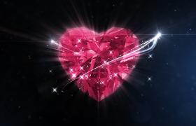 璀璨钻石般闪耀结晶粒子浪漫爱心特效婚礼婚庆片头包装PR视频模板