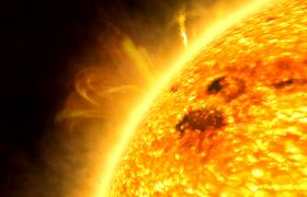 太陽火球光效閃爍熱氣噴涌HD特效視頻素材下載
