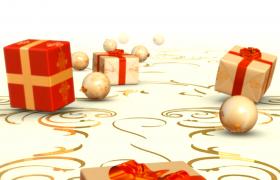 精美禮盒圣誕球墜落節日驚喜特效視頻素材參考
