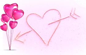 粉色气球摇摆爱心穿箭浪漫甜蜜特效视频素材