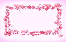 粉色背景白色边框爱心浮动HD婚庆表白特效视频素材