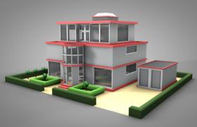 夢幻紅色鑲邊3層復式園林式豪華別墅建筑c4d模型