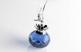 带精美银色人物雕花图案的女式澳洲香水C4D模型(含材质图片)