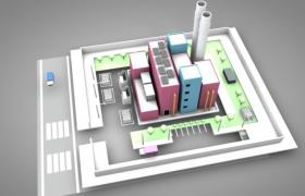 C4D卡通城市水泥化工厂建筑场景模型展示(含贴图)
