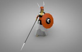 身穿长袍手持长枪的卡通格斗士人物角色c4d模型(含贴图)