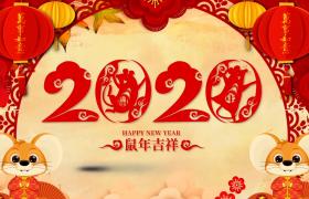 剪纸风圆环旋转2020鼠年吉祥恭贺新春年会舞台背景高清视频素材