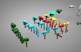 多款獨立彩色卡通設計森林植被樹木Cinema4d模型