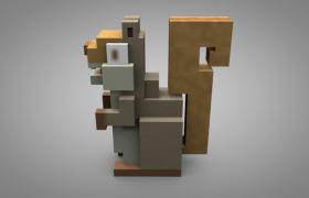 3D方形卡通立體設計商場三只松鼠廣告宣傳模型(含貼圖)