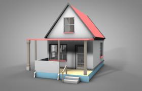 基础灰色调阁楼式小型双层卡通美式小屋C4D模型
