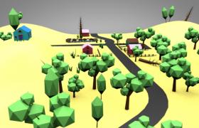 C4D工程預設:敦煌莫高窟往返高速公路場景模型展示