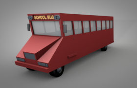 全景灯光照射卡通红色校园平头巴士C4D模型