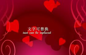 Edius下载红色爱心旋转坠落闪烁粒子揭示效果浪漫婚礼情人节片头