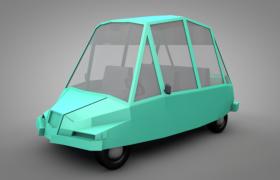 綠色卡通尖嘴型甲殼蟲外形設計低面面包車C4D模型