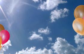 湛藍色天空背景氣球漂浮特效婚禮相冊展示Premiere模板
