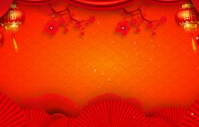 梅枝摇曳粒子光斑闪烁唯美喜庆红色新春背景视频素材