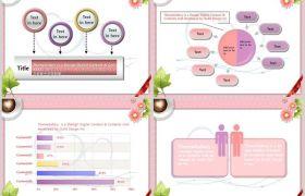 簡約愛心咖啡粉色背景情人節表白故事PPT模板下載