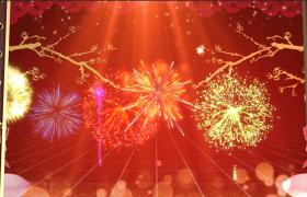 鼠年开门七彩烟花绽放红色新年背景视频素材