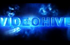 藍色科技E3D效果電影氣勢文字標題動畫開場aep格式AE模板
