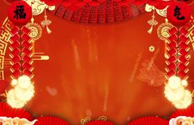 喜庆福气展示新年鞭炮爆炸红色新年背景视频素材