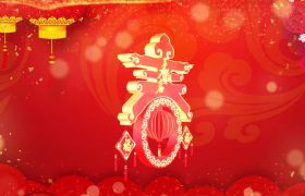 恭贺新春春字三维空间旋转粒子飘落闪耀循环背景视频