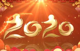 金色粒子穿梭闪烁文字转场2020鼠年大吉新年片头视频素材