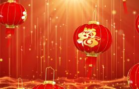 线条粒子红色福字灯笼循环上升喜庆新年背景视频素材