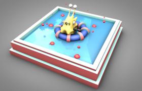 躺在泳池中正在泡澡的邋遢怪卡通動畫角色C4D模型(含貼圖)