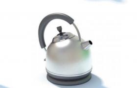 家用电器不锈钢圆形电热水壶C4D模型(含贴图)
