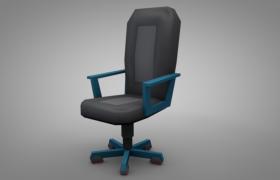 C4D蓝色年轻设计多功能商务办公椅子模型预览(含材质贴图)