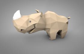 真獸亞綱低面卡通Ceratotherium simum白犀牛C4D模型(含貼圖)