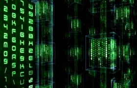 3D立體方塊旋轉綠色數字迅速演變科技特效視頻素材