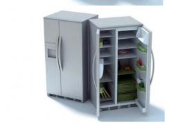 家庭必备电器立式双开门大冰箱C4D家电模型(含贴图)