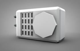 C4D家用電器:白色卡通低面空調室外設備設施模型展示