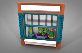 布滿盆栽植物的向陽窗臺卡通像素C4D模型展示(含貼圖)