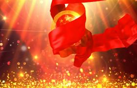 粒子光效運動飛舞紅綢帶揭示黨政片頭edius模板