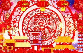 喜庆迎春中国传统剪纸圆盘旋转鼠年拜年春字祝福舞台背景视频素材下载