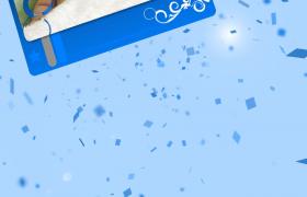 相片伴隨著藍色碎片灑落edius寫真相冊模板