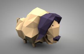 C4D卡通多邊形平面設計low poly非洲野牛動物模型展示