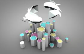 Cinema4d创意性卡通低面设计活动广告徽标个性化场景渲染模型下载