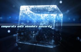 藍色水晶方塊旋轉水滴唯美漂浮edius企業宣傳片頭下載