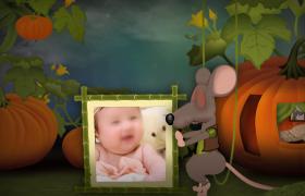 小老鼠推拉相框展示可愛特效動畫edius兒童相冊模板