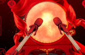 紅色粒子喜慶鑼鼓震天喜慶節日視頻合成素材