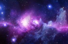 紫色星云恒星星河閃爍唯美宇宙間動畫視頻素材