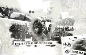 水墨渲染黑白圖文戰爭歷史照片回憶展示aep格式AE模板下載