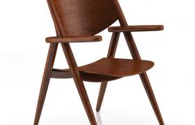 四角支撑设计高格调桃木家具折叠椅C4D高清模型