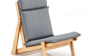 坐睡两用的超低型木质办公室折叠座椅C4D模型(VRay渲染)