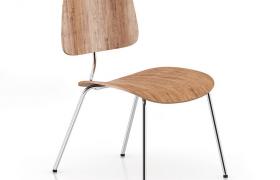 现代简约设计铁架橡木材质靠背座椅C4D模型(含贴图)