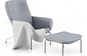 简约现代风格布艺家用电脑商务办公趟椅C4D模型(含贴图)