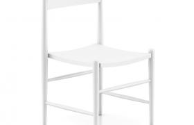 現代輕奢純白色原木橫桿靠背式公用椅C4D模型(含貼圖)